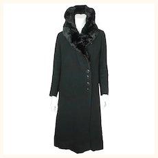 Vintage Early 1930s Winter Coat Black Wool Ladies Size S M