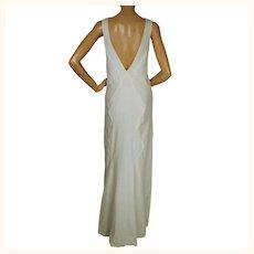 Vintage 1930s Evening Dress White Low Back Wedding Dress Sml