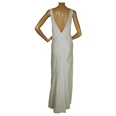 Vintage 1930s Evening Dress White Low Back Wedding Dress Sml