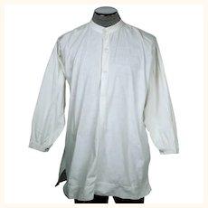 Antique Victorian Mens Shirt White Cotton Dorset Buttons M