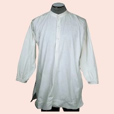 Antique Victorian Mens Shirt White Cotton Dorset Buttons M