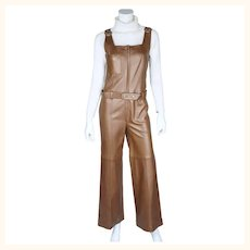Vintage 60s Leather Jumpsuit Beged Or Israel Couture Size S