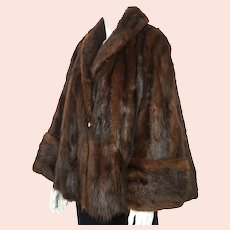 Vintage 1950s Swing Jacket Muskrat Fur Coat Ladies Size M