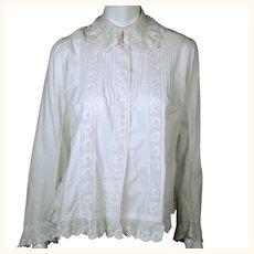 Antique Victorian Blouse Combing Jacket White Cotton Size M