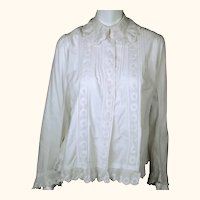 Antique Victorian Blouse Combing Jacket White Cotton Size M