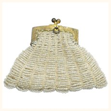 Antique Doll Purse White Beaded Sterling FAS Coin Bag 1902