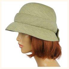 Vintage 1950s Hattie Carnegie Bucket Hat Green Wool Size M