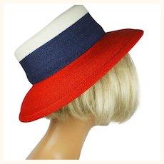 Vintage Patricia Underwood Straw Hat Patriotic Red White Blue