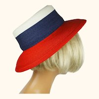 Vintage Patricia Underwood Straw Hat Patriotic Red White Blue