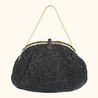 Vintage Beaded Purse Black Evening Bag Made in France