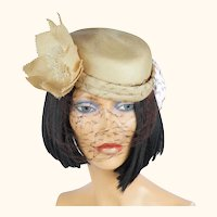 Vintage 70s Christian Dior Hat Straw Cocktail with Flower M