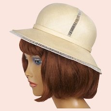 Vintage Christian Dior Hat Straw Safari Style Spring 1974 S M