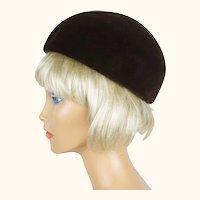 Vintage 1970s Antonio Castillo Toque Hat Brown Velvet Size M
