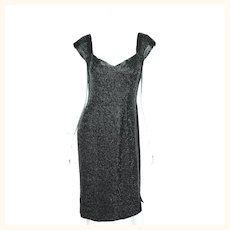Vintage 50s Bombshell Dress Black Beaded Gown Town and Travelwear Waldorf Astoria