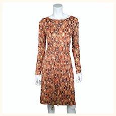 Vintage 1990s Emilio Pucci Dress Geometric Silk Jersey Size 12