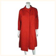 Vintage 50s Couture Evening Coat Red Silk Brocatelle Sz M