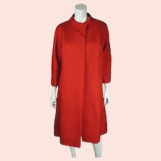 Vintage 50s Couture Evening Coat Red Silk Brocatelle Sz M