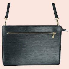 Louis Vuitton Purse Black Epi Leather Double Zipper Pochette Shoulder Bag