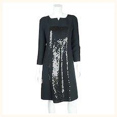1980s Vintage Courreges Dress Sequinned Black Polyester 42