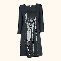 1980s Vintage Courreges Dress Sequinned Black Polyester 42
