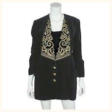 Vintage 80s Karl Lagerfeld Goldwork Black Velvet Jacket M 42