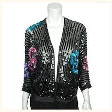 Vintage 70s Jean Jourdan Paris Black Sequin Jacket Size 14