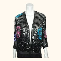 Vintage 70s Jean Jourdan Paris Black Sequin Jacket Size 14