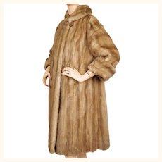 Vintage 1950s Mink Coat Pastel Brown Creeds Furs Size M L