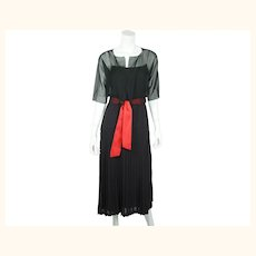 Vintage 80s Karl Lagerfeld Dress Black Silk w Chiffon Top 42