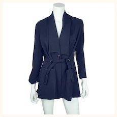 Antique Edwardian Walking Suit Jacket Navy Blue Wool Size M