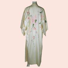 Vintage Unused 60s Japanese Silk Kimono NIP Embroidery Kyoto