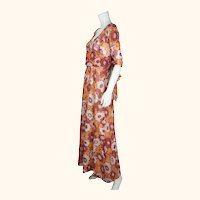 Vintage 1970s French Designer Maxi Dress Carven Paris Size M