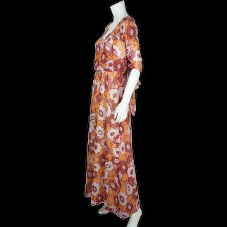 Vintage 1970s French Designer Maxi Dress Carven Paris Size M