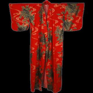 1960s Unused NOS Japanese Cotton Kimono Robe Size L