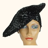 Vintage 1970s Disco Hat Black Sequinned Beret Tam Size M