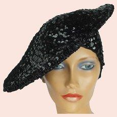 Vintage 1970s Disco Hat Black Sequinned Beret Tam Size M