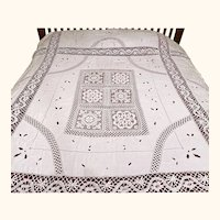 Vintage Lace Inset Linen Tablecloth w Embroidered Cutwork Bedspread