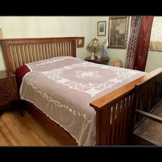 Antique French Tambour Lace Bedspread Floral Applique on Net