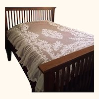 """Antique Lace Bedspread French Tambour Work on Net 78"""" x 101"""""""