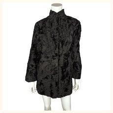 Vintage Swakara Fur Coat Black Short Style Ladies Size M 1960s