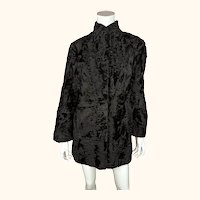 Vintage Swakara Fur Coat Black Short Style Ladies Size M 1960s