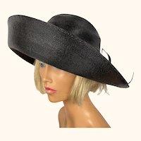 Vintage 1960s Frank Olive Black Milan Straw Hat Ladies Size 7 M