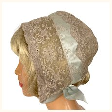 Vintage 1930s Chantilly Lace Sleeping Cap Lord & Taylor Night Bonnet
