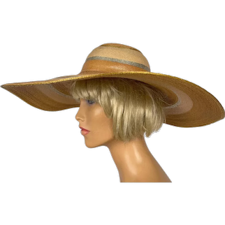 Vintage 1970s Wide Brim Straw Hat Frank Olive Private Collection