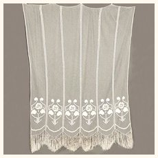 Vintage Filet Lacis Handmade Lace Curtain Fishermans Net Hand Knotted