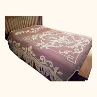 Vintage Handmade Lace Bedspread Fishermans Net Filet Lacis