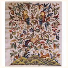 Vintage 1920s Crewel Embroidery Bedspread Embroidered Linen