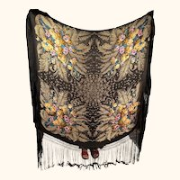 Art Deco Shawl 1920s Metallic Gold Lame Floral Pattern Scarf