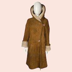 Vintage Suede Shearling Coat Birger Christensen Denmark Sz L