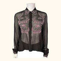 Vintage 1940s Blouse Black Silk Chiffon with Pink Embroidery Size M L